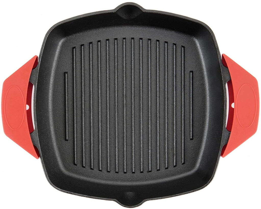 Pre-Seasoned Cast Iron Skillet Square Griddle Grill Pan